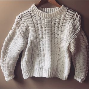 Urban Outfitters crochet boxy crew neck sweater